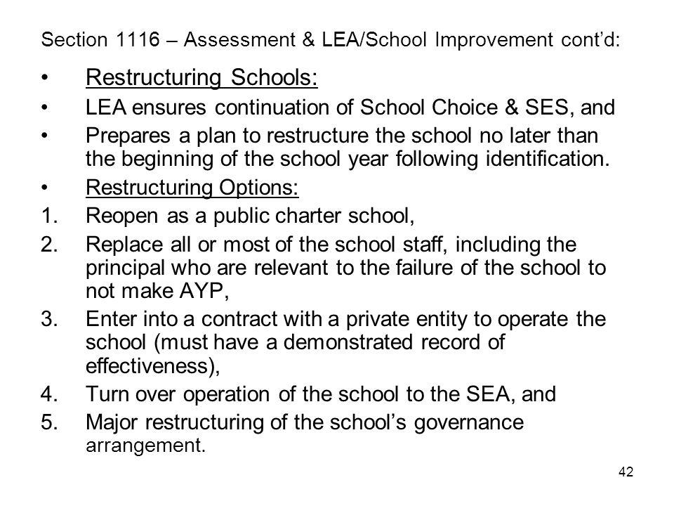 42 Section 1116 – Assessment & LEA/School Improvement cont'd: Restructuring Schools: LEA ensures continuation of School Choice & SES, and Prepares a p
