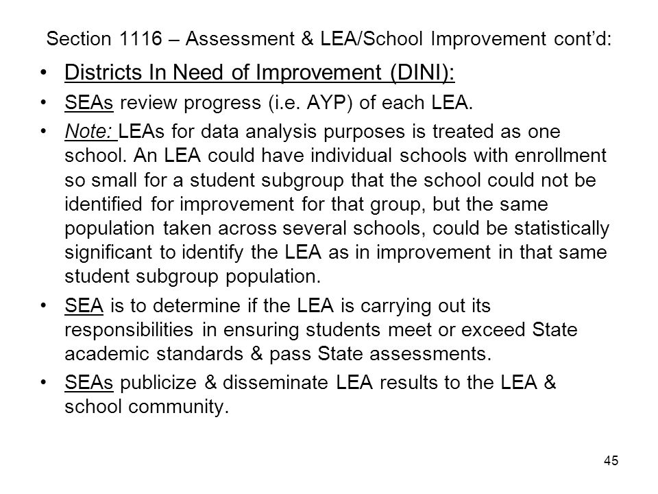 45 Section 1116 – Assessment & LEA/School Improvement cont'd: Districts In Need of Improvement (DINI): SEAs review progress (i.e. AYP) of each LEA. No