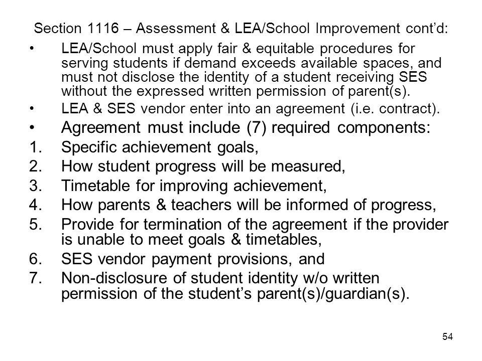 54 Section 1116 – Assessment & LEA/School Improvement cont'd: LEA/School must apply fair & equitable procedures for serving students if demand exceeds
