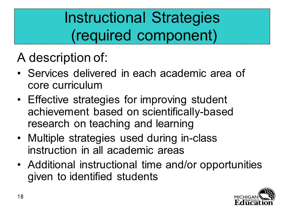 18 Instructional Strategies (required component) A description of: Services delivered in each academic area of core curriculum Effective strategies for improving student achievement based on scientifically-based research on teaching and learning Multiple strategies used during in-class instruction in all academic areas Additional instructional time and/or opportunities given to identified students