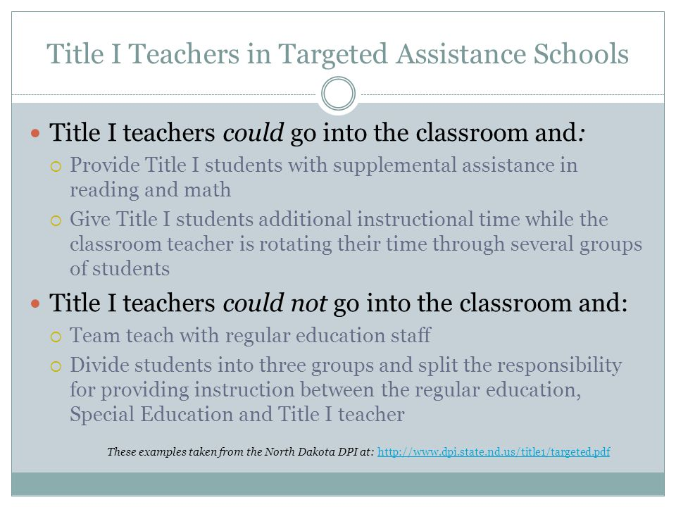 Title I Teachers in Targeted Assistance Schools Title I teachers could go into the classroom and:  Provide Title I students with supplemental assistance in reading and math  Give Title I students additional instructional time while the classroom teacher is rotating their time through several groups of students Title I teachers could not go into the classroom and:  Team teach with regular education staff  Divide students into three groups and split the responsibility for providing instruction between the regular education, Special Education and Title I teacher These examples taken from the North Dakota DPI at: http://www.dpi.state.nd.us/title1/targeted.pdfhttp://www.dpi.state.nd.us/title1/targeted.pdf