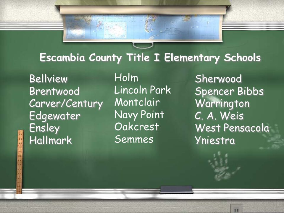 Escambia County Title I Elementary Schools Bellview Brentwood Carver/Century Edgewater Ensley Hallmark Bellview Brentwood Carver/Century Edgewater Ens