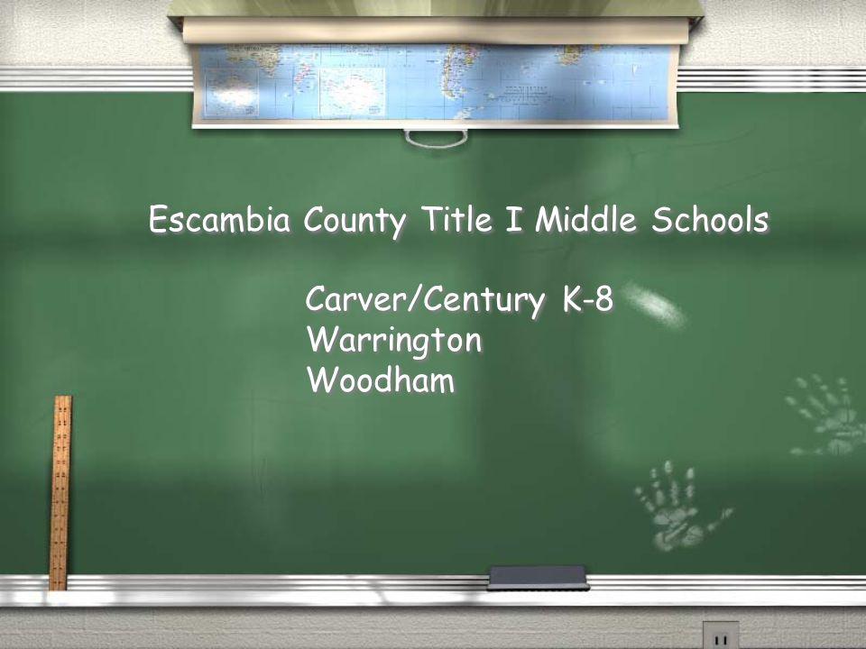 Escambia County Title I Middle Schools Carver/Century K-8 Warrington Woodham Carver/Century K-8 Warrington Woodham
