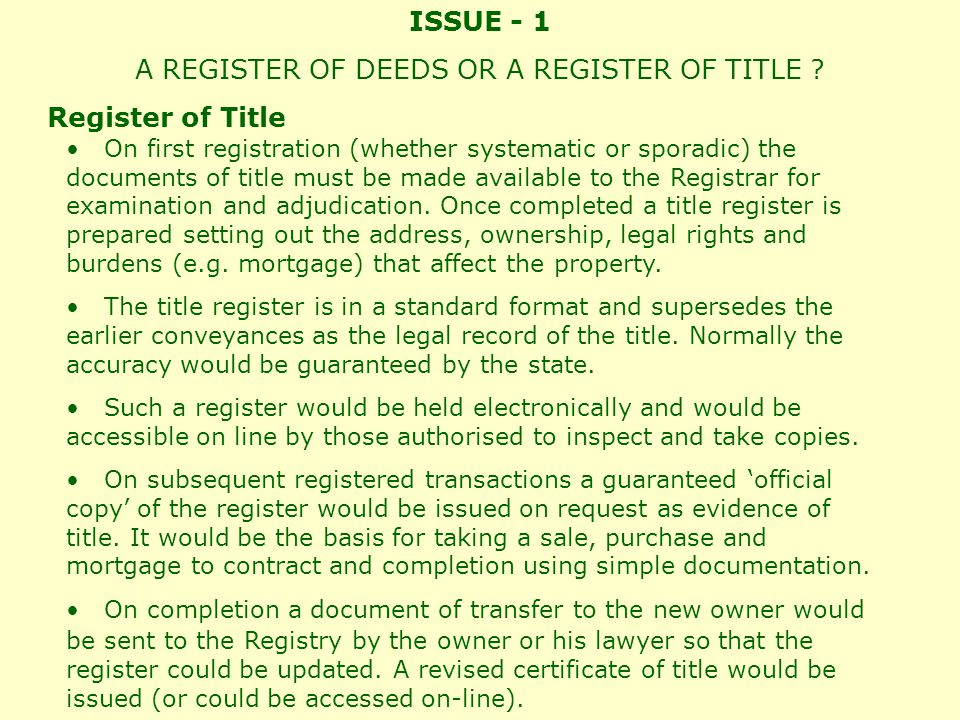 ISSUE - 2 Compilation of the Register - Systematic or Sporadic .