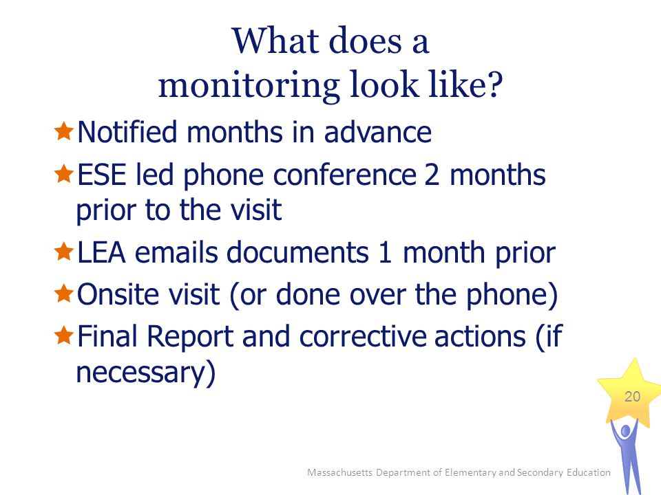 Massachusetts Department of Elementary and Secondary Education 20 What does a monitoring look like.