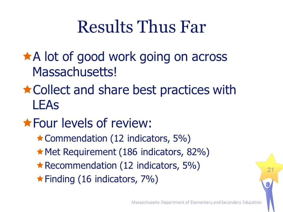 Massachusetts Department of Elementary and Secondary Education 21 Results Thus Far  A lot of good work going on across Massachusetts.