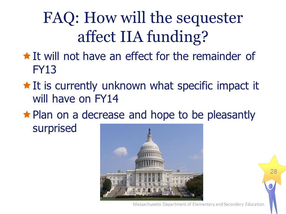 Massachusetts Department of Elementary and Secondary Education 28 FAQ: How will the sequester affect IIA funding.
