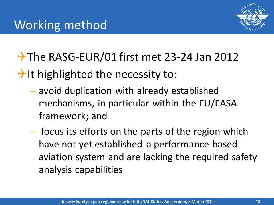 Working method  The RASG-EUR/01 first met Jan 2012  It highlighted the necessity to: – avoid duplication with already established mechanisms, in particular within the EU/EASA framework; and – focus its efforts on the parts of the region which have not yet established a performance based aviation system and are lacking the required safety analysis capabilities Runway Safety: a pan regional view for EUR/NAT States.