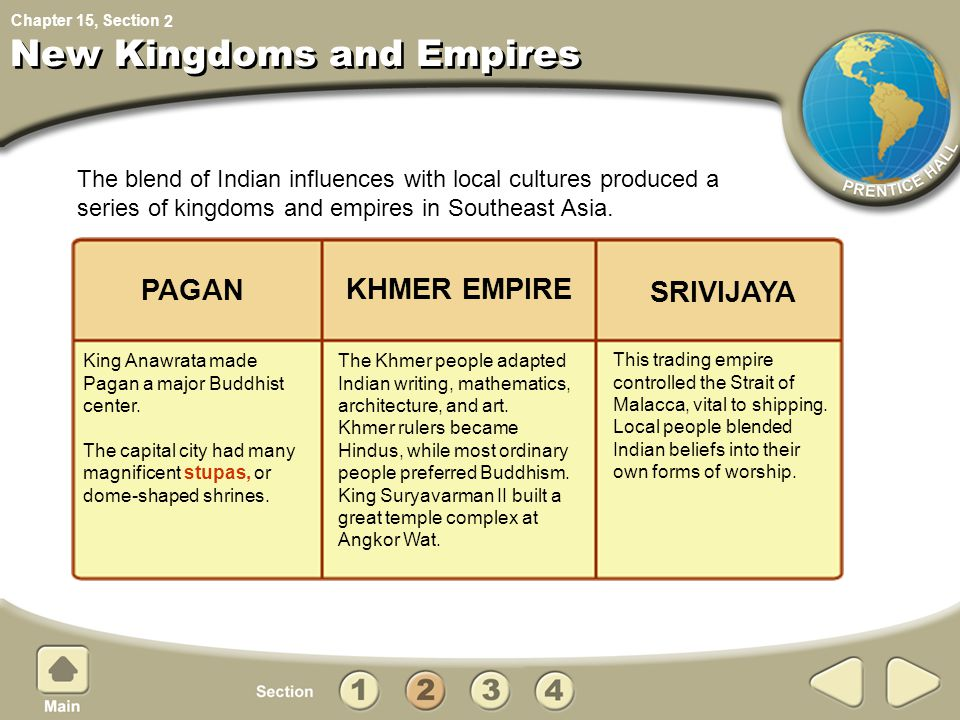 Chapter 15, Section New Kingdoms and Empires This trading empire controlled the Strait of Malacca, vital to shipping. Local people blended Indian beli