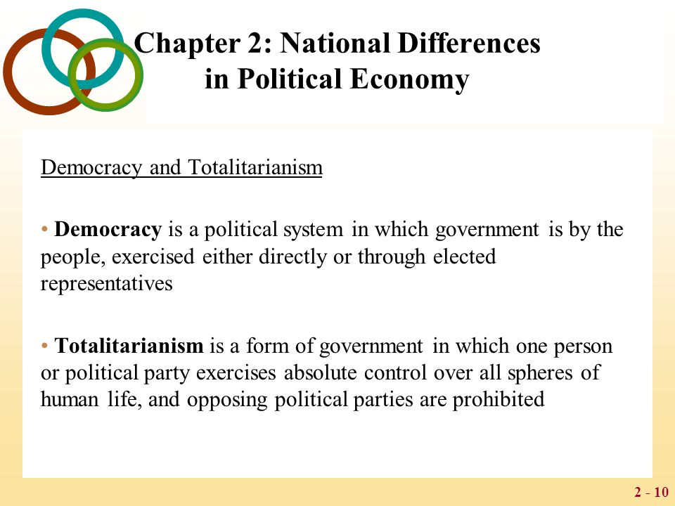 2 - 10 Chapter 2: National Differences in Political Economy Democracy and Totalitarianism Democracy is a political system in which government is by th