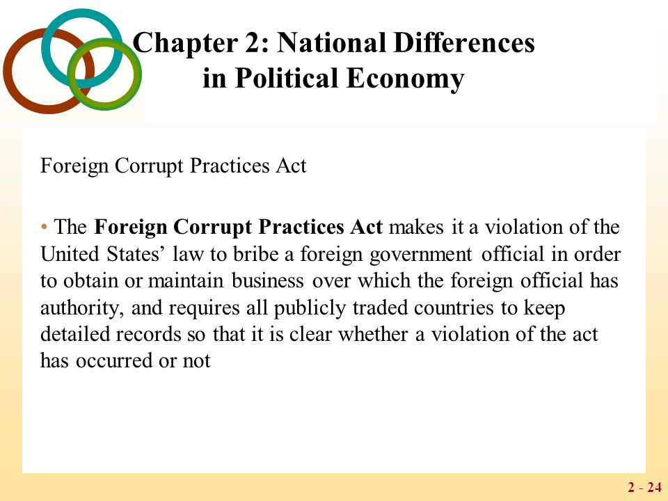 2 - 24 Chapter 2: National Differences in Political Economy Foreign Corrupt Practices Act The Foreign Corrupt Practices Act makes it a violation of the United States' law to bribe a foreign government official in order to obtain or maintain business over which the foreign official has authority, and requires all publicly traded countries to keep detailed records so that it is clear whether a violation of the act has occurred or not
