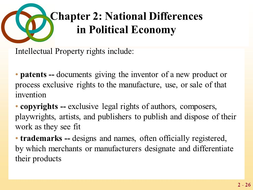 2 - 26 Chapter 2: National Differences in Political Economy Intellectual Property rights include: patents -- documents giving the inventor of a new product or process exclusive rights to the manufacture, use, or sale of that invention copyrights -- exclusive legal rights of authors, composers, playwrights, artists, and publishers to publish and dispose of their work as they see fit trademarks -- designs and names, often officially registered, by which merchants or manufacturers designate and differentiate their products