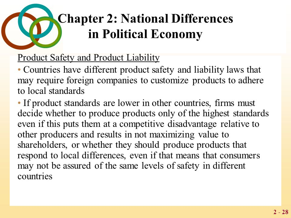 2 - 28 Chapter 2: National Differences in Political Economy Product Safety and Product Liability Countries have different product safety and liability laws that may require foreign companies to customize products to adhere to local standards If product standards are lower in other countries, firms must decide whether to produce products only of the highest standards even if this puts them at a competitive disadvantage relative to other producers and results in not maximizing value to shareholders, or whether they should produce products that respond to local differences, even if that means that consumers may not be assured of the same levels of safety in different countries