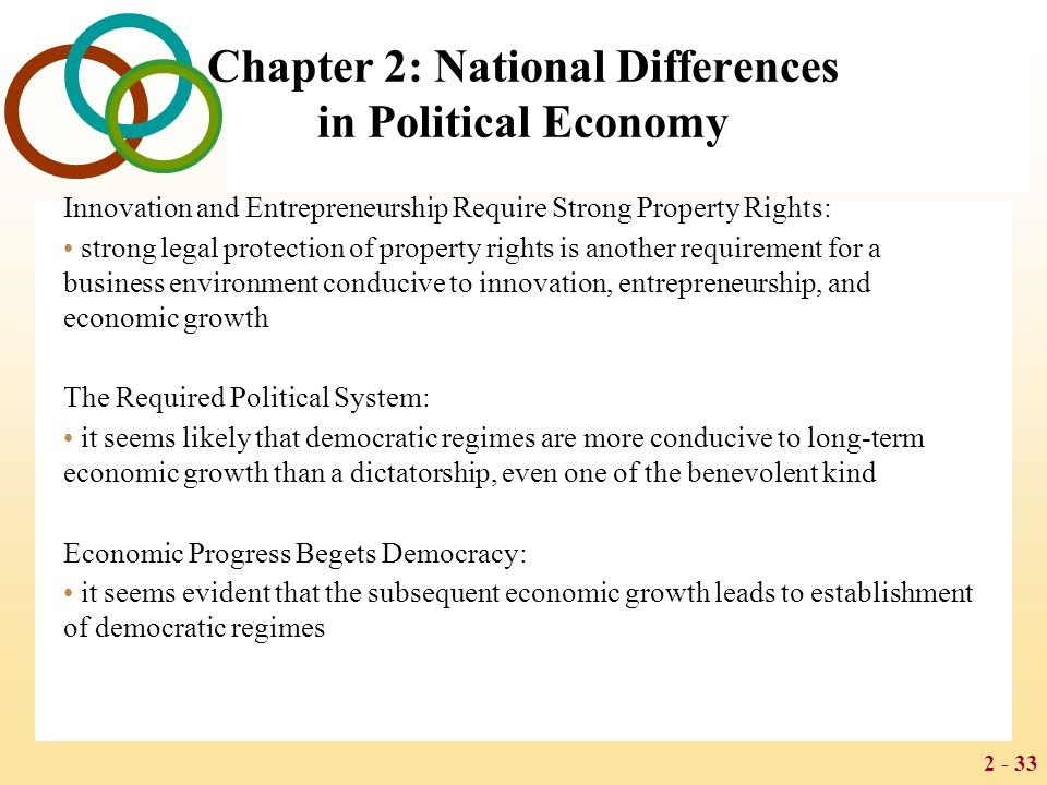 2 - 33 Chapter 2: National Differences in Political Economy Innovation and Entrepreneurship Require Strong Property Rights: strong legal protection of property rights is another requirement for a business environment conducive to innovation, entrepreneurship, and economic growth The Required Political System: it seems likely that democratic regimes are more conducive to long-term economic growth than a dictatorship, even one of the benevolent kind Economic Progress Begets Democracy: it seems evident that the subsequent economic growth leads to establishment of democratic regimes