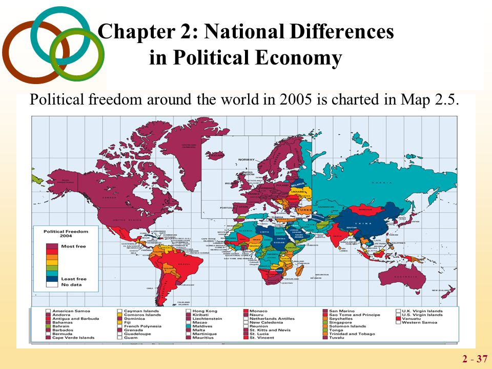 2 - 37 Chapter 2: National Differences in Political Economy Political freedom around the world in 2005 is charted in Map 2.5.