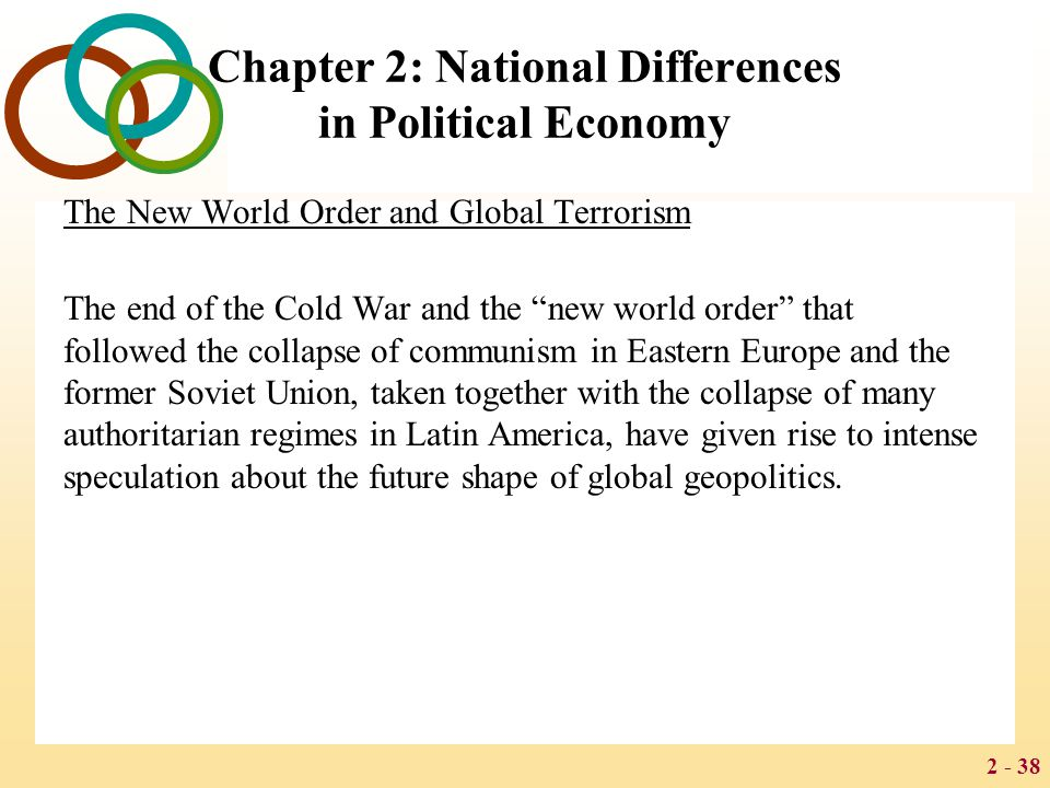 2 - 38 Chapter 2: National Differences in Political Economy The New World Order and Global Terrorism The end of the Cold War and the new world order that followed the collapse of communism in Eastern Europe and the former Soviet Union, taken together with the collapse of many authoritarian regimes in Latin America, have given rise to intense speculation about the future shape of global geopolitics.