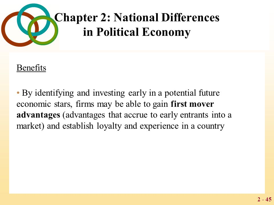 2 - 45 Chapter 2: National Differences in Political Economy Benefits By identifying and investing early in a potential future economic stars, firms ma