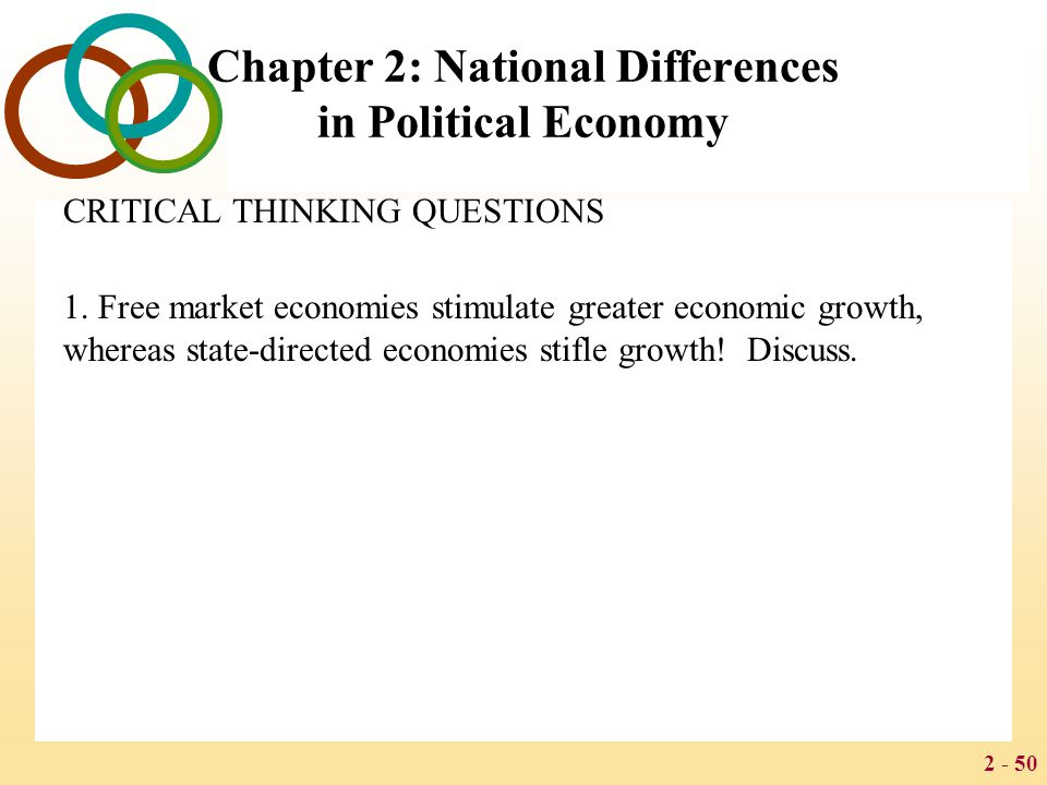 2 - 50 Chapter 2: National Differences in Political Economy CRITICAL THINKING QUESTIONS 1.