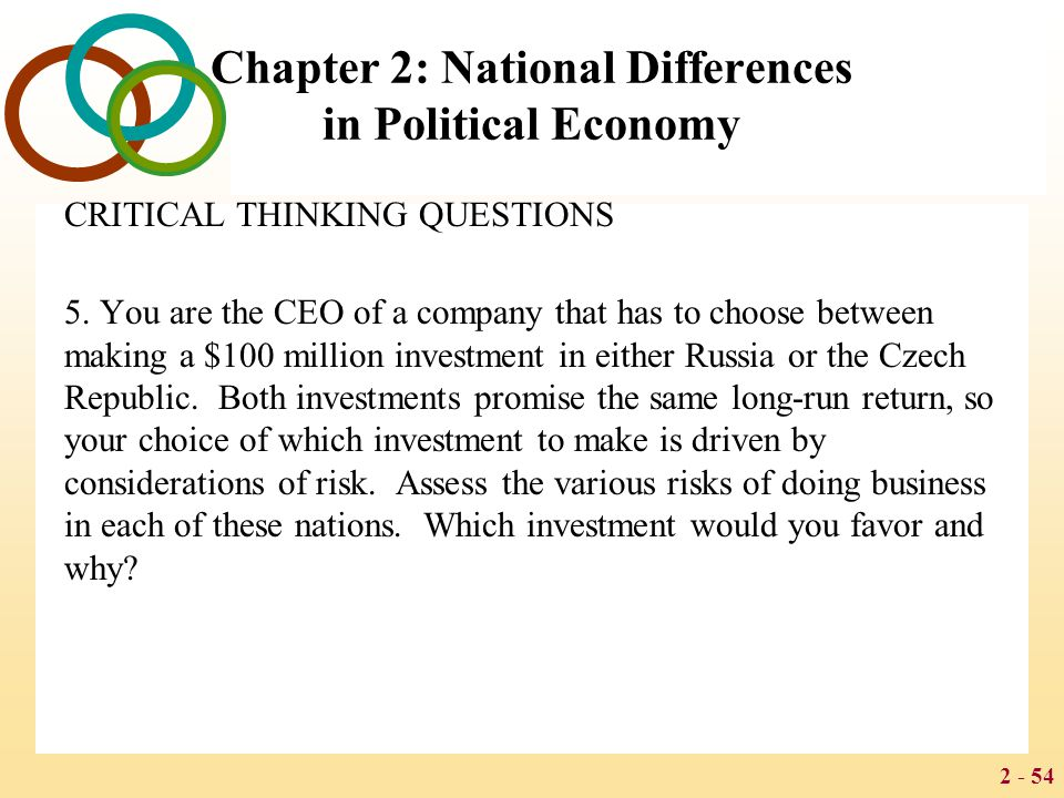 2 - 54 Chapter 2: National Differences in Political Economy CRITICAL THINKING QUESTIONS 5. You are the CEO of a company that has to choose between mak