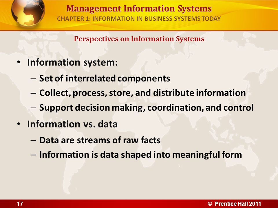 Management Information Systems CHAPTER 1: INFORMATION IN BUSINESS SYSTEMS TODAY Perspectives on Information Systems Data and Information Raw data from a supermarket checkout counter can be processed and organized to produce meaningful information, such as the total unit sales of dish detergent or the total sales revenue from dish detergent for a specific store or sales territory.