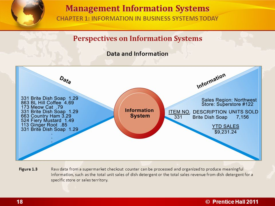 Management Information Systems CHAPTER 1: INFORMATION IN BUSINESS SYSTEMS TODAY Three activities of information systems produce information organizations need 1.Input: Captures raw data from organization or external environment 2.Processing: Converts raw data into meaningful form 3.Output: Transfers processed information to people or activities that use it Perspectives on Information Systems © Prentice Hall 201119