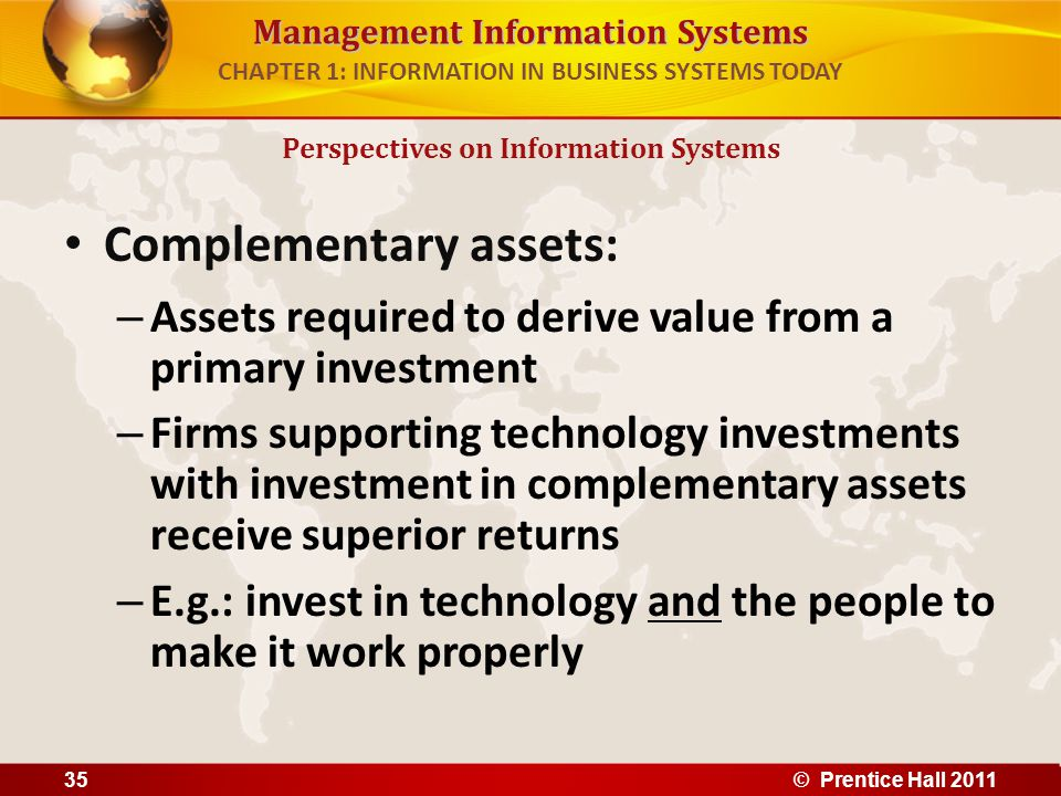 Management Information Systems CHAPTER 1: INFORMATION IN BUSINESS SYSTEMS TODAY Complementary assets include: – Organizational assets, e.g.