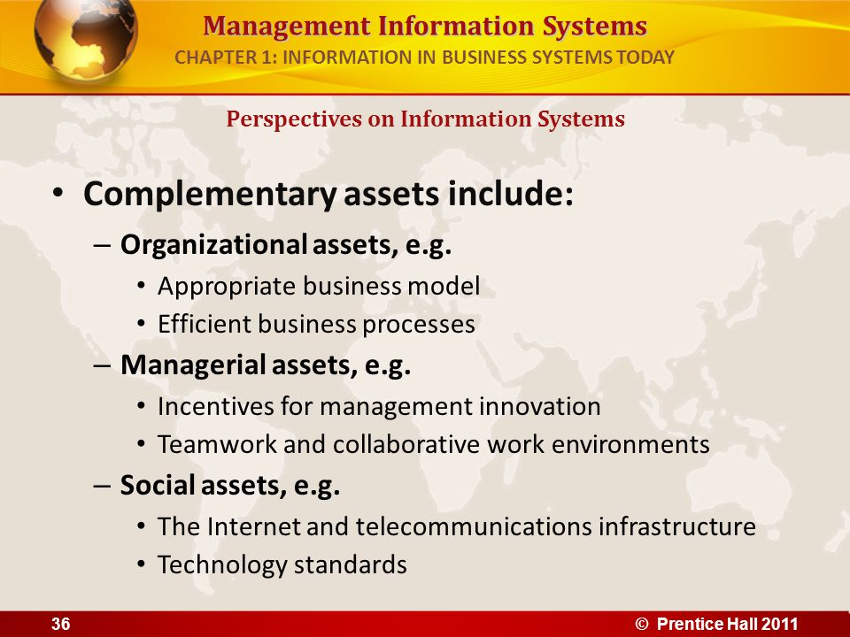 Management Information Systems CHAPTER 1: INFORMATION IN BUSINESS SYSTEMS TODAY Complementary assets include: – Organizational assets, e.g. Appropriat