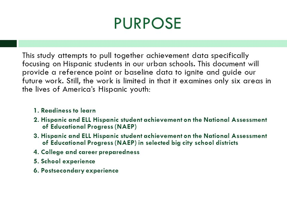 PURPOSE This study attempts to pull together achievement data specifically focusing on Hispanic students in our urban schools.
