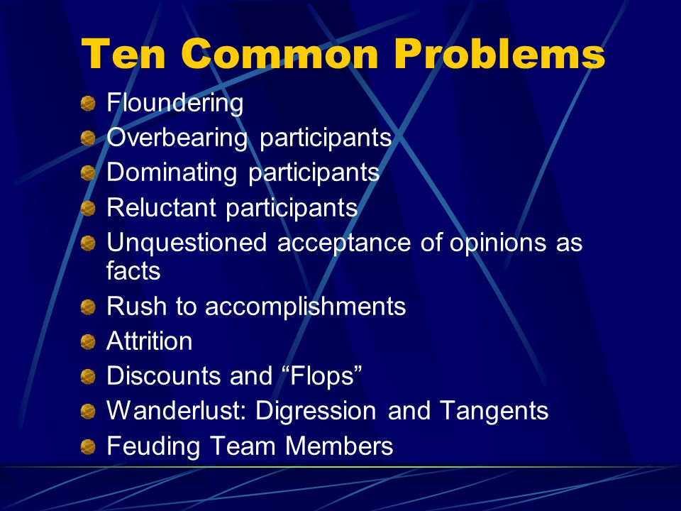 Ten Common Problems Floundering Overbearing participants Dominating participants Reluctant participants Unquestioned acceptance of opinions as facts Rush to accomplishments Attrition Discounts and Flops Wanderlust: Digression and Tangents Feuding Team Members