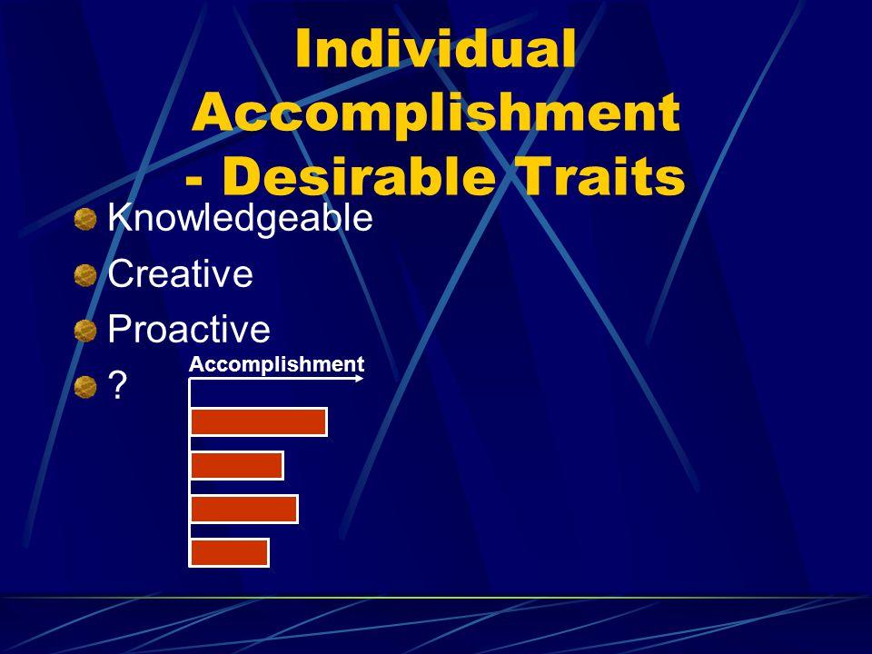 Accomplishment Individual Accomplishment - Desirable Traits Knowledgeable Creative Proactive