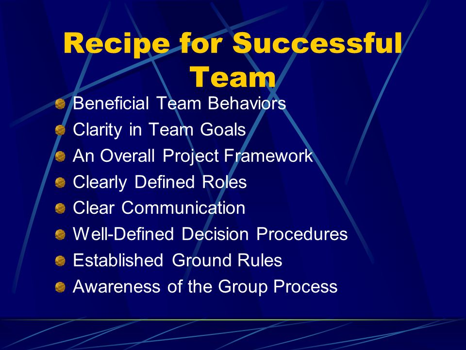 Recipe for Successful Team Beneficial Team Behaviors Clarity in Team Goals An Overall Project Framework Clearly Defined Roles Clear Communication Well-Defined Decision Procedures Established Ground Rules Awareness of the Group Process