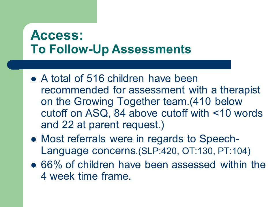 Access: To Follow-Up Assessments A total of 516 children have been recommended for assessment with a therapist on the Growing Together team.(410 below