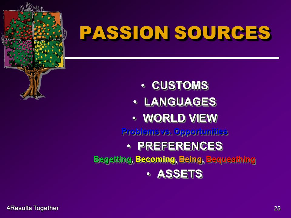 4Results Together 25 PASSION SOURCES CUSTOMSCUSTOMS LANGUAGESLANGUAGES WORLD VIEWWORLD VIEW Problems vs.