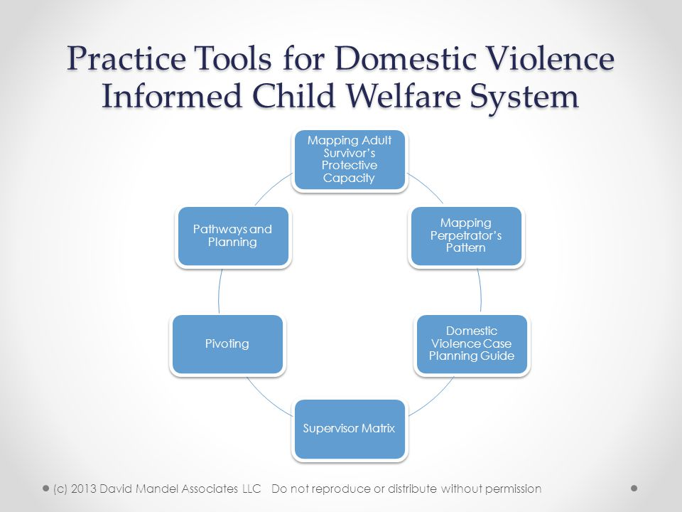 Practice Tools for Domestic Violence Informed Child Welfare System Mapping Adult Survivor's Protective Capacity Mapping Perpetrator's Pattern Domestic Violence Case Planning Guide Supervisor MatrixPivoting Pathways and Planning (c) 2013 David Mandel Associates LLC Do not reproduce or distribute without permission