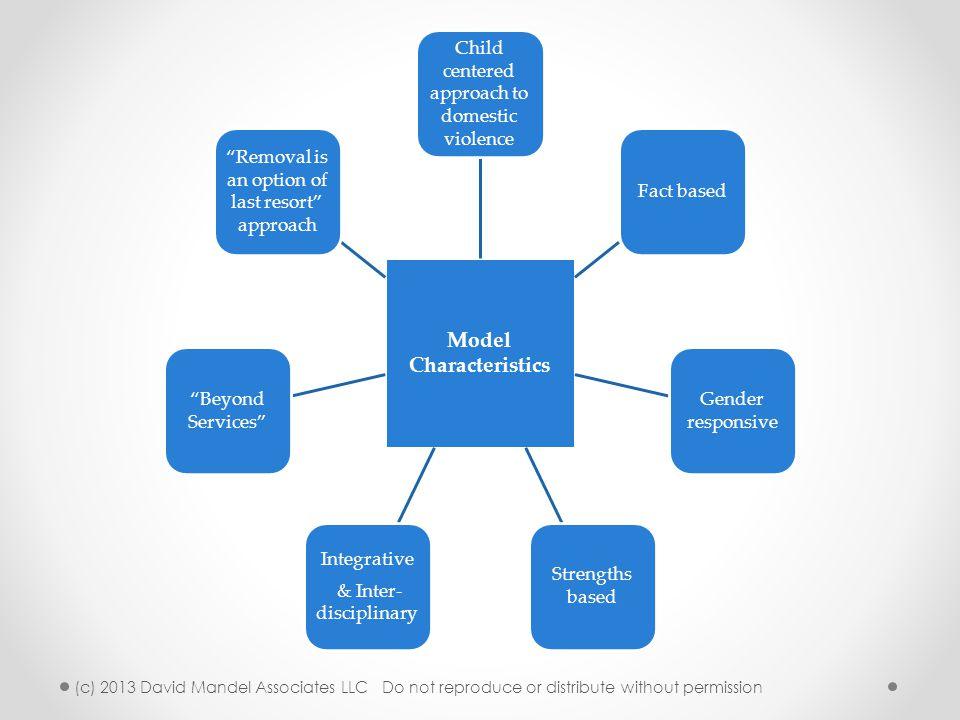 Model Characteristics Child centered approach to domestic violence Fact based Gender responsive Strengths based Integrative & Inter- disciplinary Beyond Services Removal is an option of last resort approach (c) 2013 David Mandel Associates LLC Do not reproduce or distribute without permission