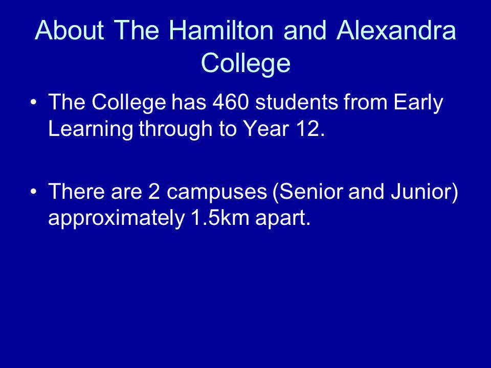 About The Hamilton and Alexandra College The College has 460 students from Early Learning through to Year 12.