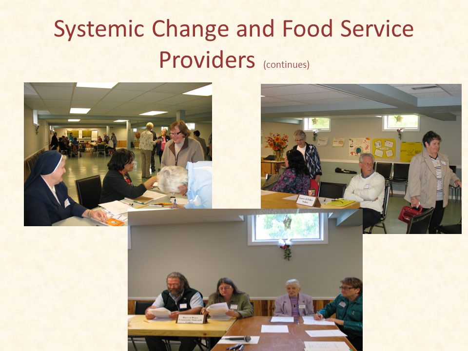 Systemic Change Group in Action Food Service Providers June 2, 2013 Registration for the afternoon session: Celia Lorway Agnes Burrows, SC The initial meeting bringing together food service providers: St.