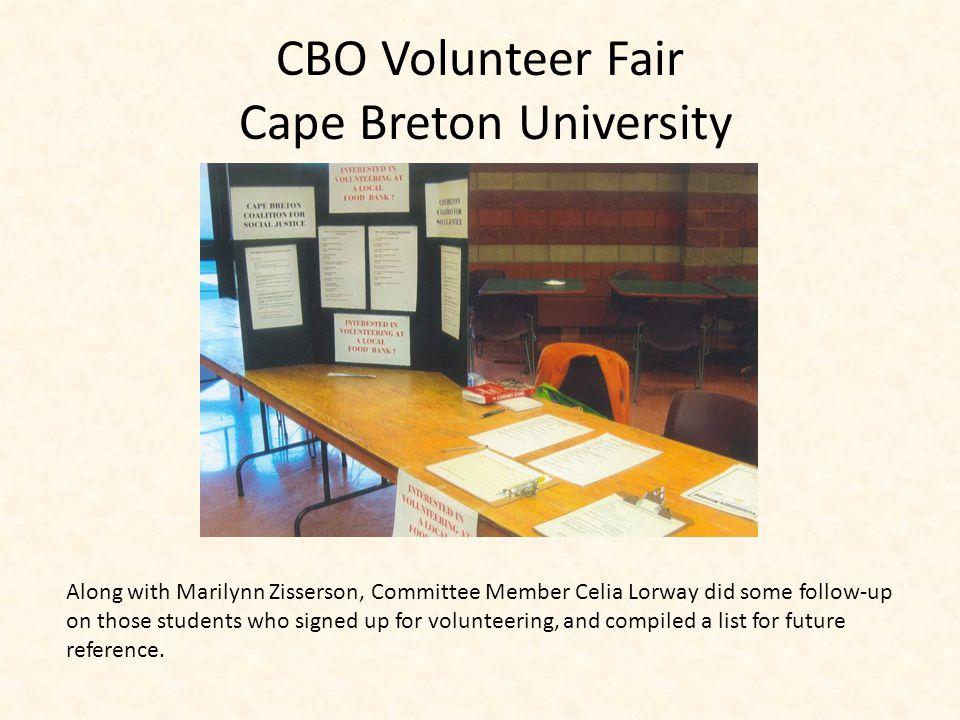 CBO Volunteer Fair Cape Breton University Display Book organized by Marilynn Zisserson