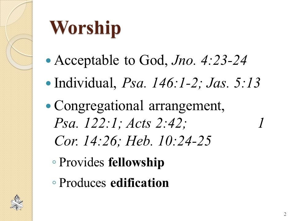 Worship Acceptable to God, Jno.4:23-24 Individual, Psa.