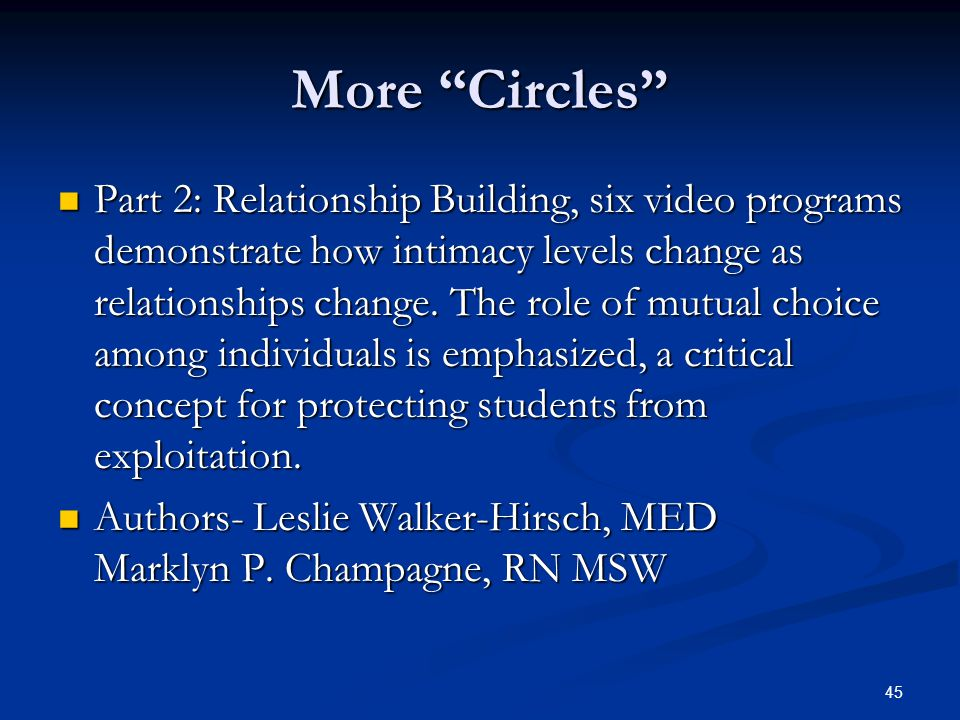 "45 More ""Circles"" Part 2: Relationship Building, six video programs demonstrate how intimacy levels change as relationships change. The role of mutual"