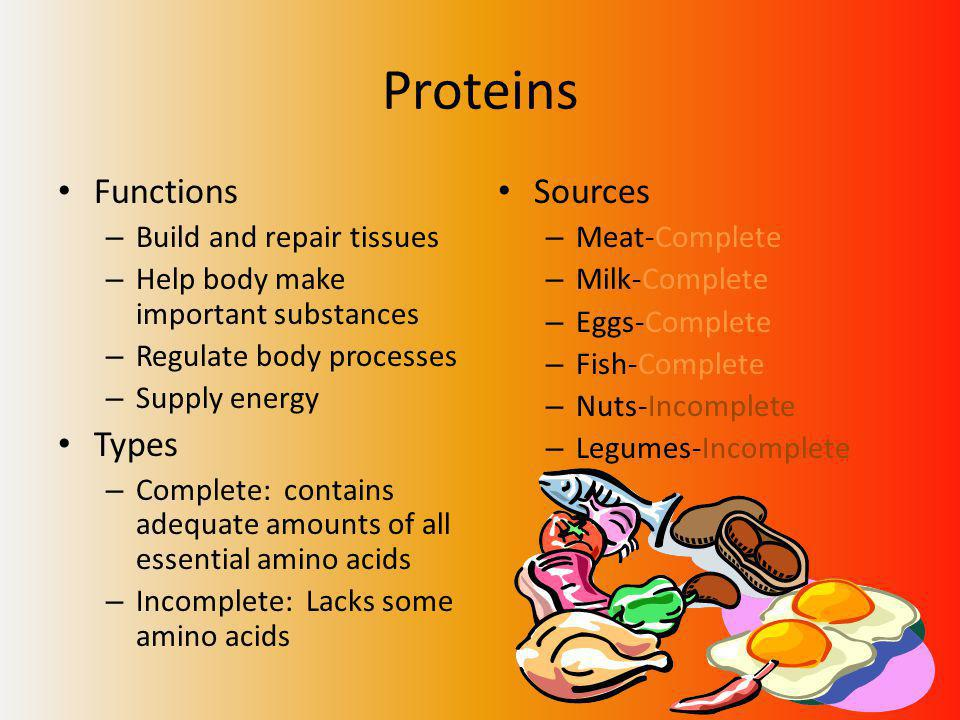 Proteins Functions – Build and repair tissues – Help body make important substances – Regulate body processes – Supply energy Types – Complete: contains adequate amounts of all essential amino acids – Incomplete: Lacks some amino acids Sources – Meat-Complete – Milk-Complete – Eggs-Complete – Fish-Complete – Nuts-Incomplete – Legumes-Incomplete