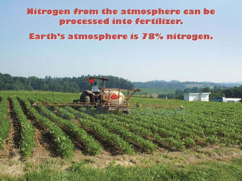 Nitrogen from the atmosphere can be processed into fertilizer.