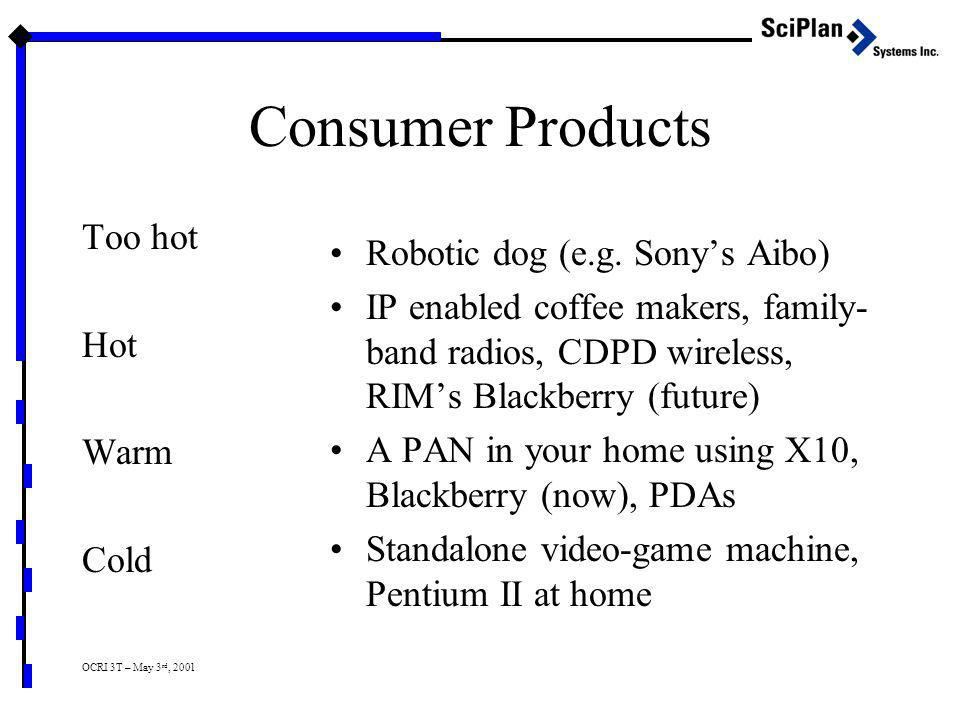 OCRI 3T – May 3 rd, 2001 Consumer Products Too hot Hot Warm Cold Robotic dog (e.g. Sony's Aibo) IP enabled coffee makers, family- band radios, CDPD wi
