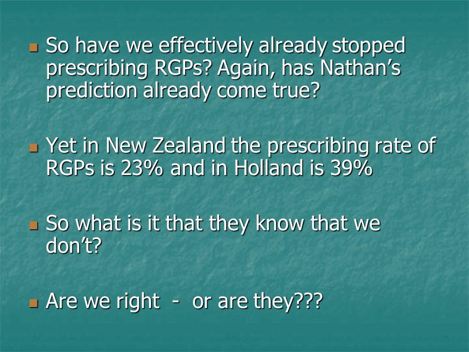 So have we effectively already stopped prescribing RGPs? Again, has Nathan's prediction already come true? So have we effectively already stopped pres