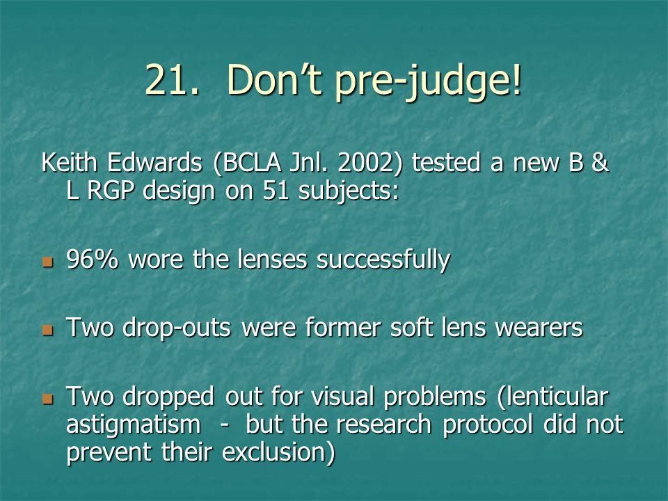 21. Don't pre-judge. Keith Edwards (BCLA Jnl.