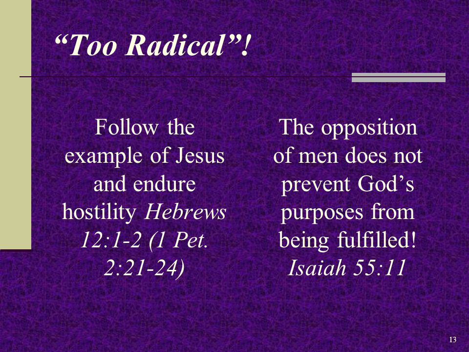 Too Radical . Follow the example of Jesus and endure hostility Hebrews 12:1-2 (1 Pet.