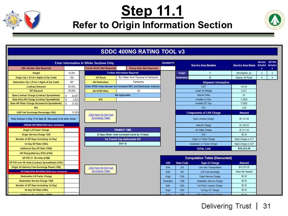 Delivering Trust Step 11.1 Refer to Origin Information Section 31