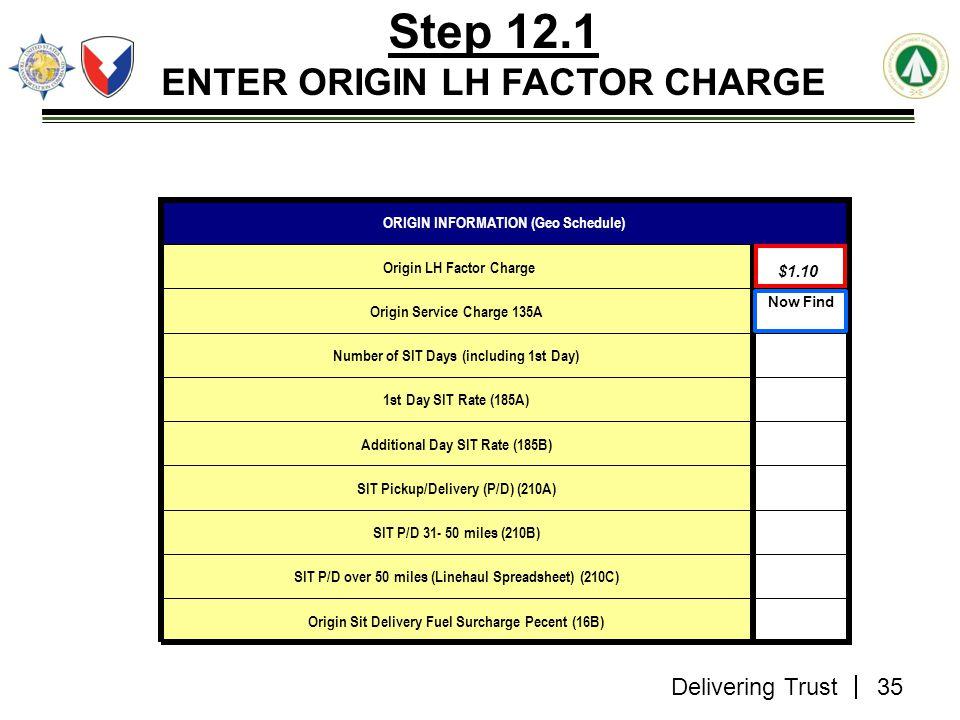 Delivering Trust Step 12.1 ENTER ORIGIN LH FACTOR CHARGE $1.61 Origin Sit Delivery Fuel Surcharge Pecent (16B) SIT P/D over 50 miles (Linehaul Spreads