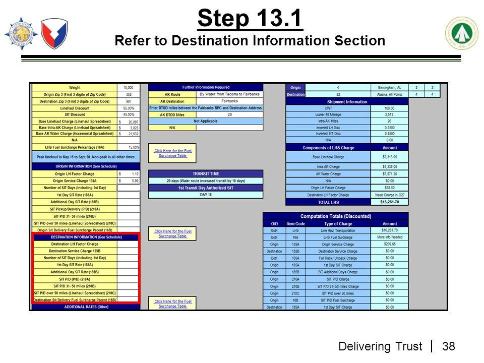 Delivering Trust 38 Step 13.1 Refer to Destination Information Section