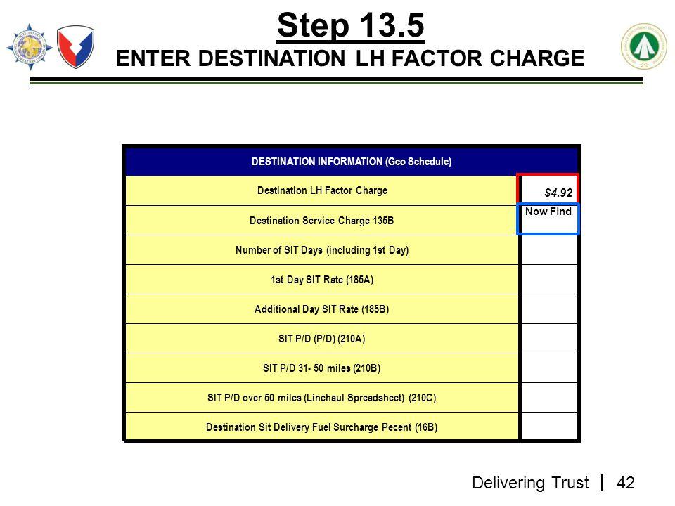 Delivering Trust Step 13.5 ENTER DESTINATION LH FACTOR CHARGE Destination Sit Delivery Fuel Surcharge Pecent (16B) SIT P/D over 50 miles (Linehaul Spr